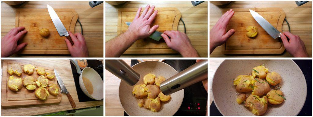 Príprava restovaných varených zemiakov na kačacom tuku s rozmarínom, ktoré sa budú podávať ku kačacím prsiam s omáčkou