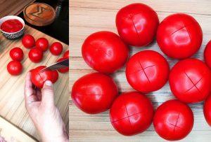 Príprava lúpanćh paradajok